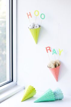 if you don't want to use party hats as hats, use them as treat cones!