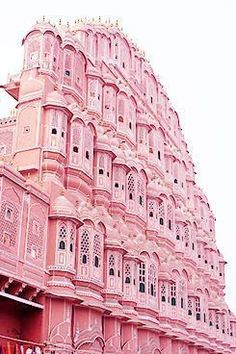 "Palace of the Winds in Jaipur, India. Nicknamed the ""pink city,"" Jaipur, the capital city of the desert state of Rajasthan, features architecture of pink sandstone – from grand structures and forts to tiny markets. Pretty In Pink, Pink Love, Beautiful Buildings, Beautiful Places, Modern Buildings, Pink Houses, Design Set, Design Ideas, House Design"