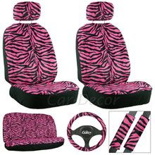 Pink Zebra Car Seat Cover Set from CarDecor.com.