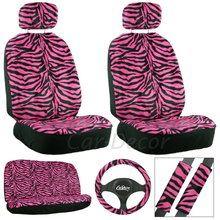 Pink Zebra Car Seat Cover Set from CarDecor.com.