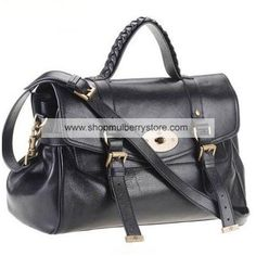 932dd7d264 Mulberry Alexa Black A smart satchel shaped handbag that has been made  elegant with fine leather and brass trimmings.