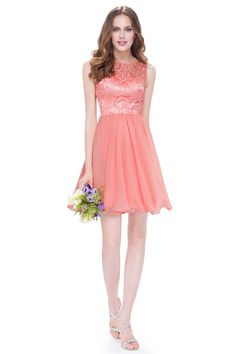 Evening Party Dress Peach Ever Pretty Women Elegant O-Neck Sleeveless Short A Line Hot Selling Dress Flared Bridesmaid Dresses, Homecoming Dresses, Sexy Evening Dress, Evening Dresses, Formal Dresses, Shirts & Tops, Maid Of Honour Dresses, Jeans Rock, Party Dresses For Women