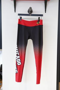 Take a look at these #Blackhawks women's workout leggings sold exclusively at the Blackhawks Store!