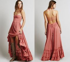Update your summer style with this trendy maxi ruffled dress. Features elastic front with rubber strap back, self tie halter strap, ruffled hemline, adjustable waist strap to do the adjustment and max