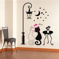 Popular Ancient Lamp Cats And Birds Wall Sticker Wall Mural Home Decor Room Kids Decals Wallpaper To Produce An Effect Toward Clear Vision Home Improvement Wallpapers