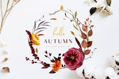 Ad: Hello autumn - watercolor collection by Youksy on UPDATE ( 3 oktober) Gold alphabet, floral bouquets UPDATE ( 29 september) Pumpkins and decorated pumpkins, gold elements, gold frames Autumn Illustration, Creative Illustration, Watercolor Illustration, Graphic Illustration, Visual Design, Web Design, Logo Design, Graphic Design, Design Blogs