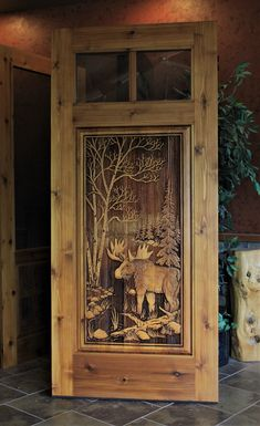Carved deer design in knotty cedar door Custom Wood Doors, Rustic Doors, Wooden Doors, Art Carved, Carved Door, Cordwood Homes, Home Decor Furniture, Rustic Furniture, Craftsman Door