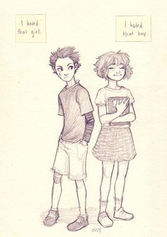 Shouko and Shouya from A Silent Voice by Burdge Drawing Poses, Drawing Sketches, Art Drawings, Sketching, Cartoon Kunst, Cartoon Art, Art Reference Poses, Drawing Reference, Bug Art