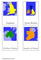 Free Montessori cards to teach about the countries i the United Kingdom - includes blacklines so children can make their own books.