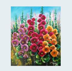 Flower wall art. Oil painting on canvas. Mallow painting. Living room wall decor. #oiloncanvas #flowerpainting #betulapainting #modernart