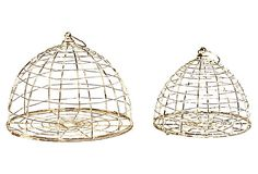 S/2 Cloche Birdcages on OneKingsLane.com   This set of two cloche birdcages boasting a lovely distressed white finish will add delightful charm to any decor.    Elegant silhouettes and rough-hewn textures. Traditional shapes and decidedly untraditional materials. Because Zentique complements the classic with the innovative, its furniture and accents are anything but predictable--though we do predict you'll love the verve they'll bring to your home.  $85.00  was  $155.00 Retail