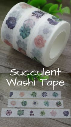 Succulent washi tape. This gorgeous paper tape will help to accessories your planner or journal creating a great theme for your monthly bullet journal spread. #planner #planneraddict #bujo #stationery #succulent #ad