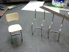 Dollhouse Miniature Furniture - Tutorials | 1 inch minis: Vintage Kitchen Chair Tutorial - How to make a metal tubular kitchen chair, 1 inch scale.