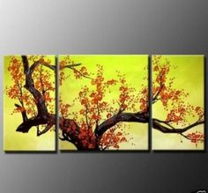 Amazon.com - 3 Piece Canvas Art Hand Painted Oil Painting Wall Art Group Painting Abstract Painting Modern Art Blooming Flower Painting Free...