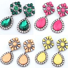 1 Pair Classical Crystal Rhinestone Flower Statement Stud Dangle Earrings New #Unbranded