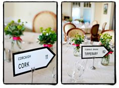 Use Irish road sign replicas as table markers!