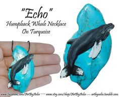 Echo the Humpback Whale on Turquoise I've been meaning to try sculpting a humpback since I saw them for the first time last year… and decided that since I saw Echo on both of the whale watches I did. Humpback Whale, Whale Watching, Mythical Creatures, Sculpting, Turquoise, Jewellery, Gifts, Art, Art Background