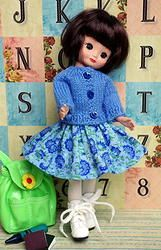 """**ScHooLDaY BLueS**...a handknit sweater and skirt set for Tonner Tiny Betsy McCall 8"""" DoLLs. A 2 PC hand designed set for your Tiny Betsy to wear. Made with love and at my website now for instant purchase. Click on the picture to take you there. Also fits Tonner Alice Kingsley 8"""" dolls and will fit the newest Patsyette 8"""" dolls by Tonner that are just coming out! www.karmelapples.com"""