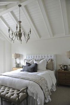Tracey Ayton Photography - bedrooms - vaulted ceiling, vaulted wood paneled ceiling, french style chandelier,