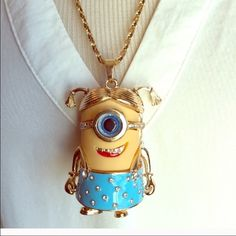 """Cute Blue Minion Necklace~New~25"""" W/Extend Chain Cute Blue Minion Necklace~New~25"""" W/Extend Chain~Minion Pendant is a little over 2""""~Firm unless bundled~NEW Cute Jewelry Necklaces"""