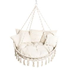 Bliss Hammocks White Hanging Macrame Hammock Chair with Pillows at Sierra. Celebrating 30 Years Of Exploring. Macrame Hanging Chair, Macrame Chairs, Hanging Hammock Chair, Swinging Chair, Hanging Chair From Ceiling, Hanging Furniture, Hanging Chairs, Hanging Rope, Outdoor Furniture