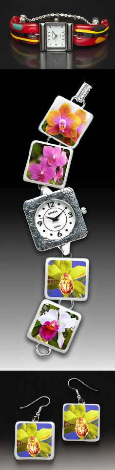 """028. Linda Shull: """" l developed my distinctive line of glass watches because I am a certified watch addict and there were none available like my studio now makes. I fuse my own patterns of glass in a kiln, layering different colors and designs. The watchbands are then cut and fired in the kiln again. In a third visit to the kiln the glass is formed over a mold designed by my engineer husband, Glenn. The glass is then hand-wired to custom watch faces."""" www.shulldesignstudio.com"""