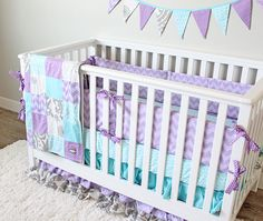 Items similar to Purple Baby Girl Crib Bedding Set, Teal and Lavender Nursery Bedding, Patchwork Baby Girl Blanket, Purple Fitted Sheet, Baby Crib Skirt on Etsy Nursery Bedding Sets Girl, Nursery Twins, Nursery Ideas, Teal Nursery, Custom Baby Bedding, Purple Baby, Baby Cribs, Baby Beds, Trendy Baby