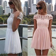 Siebel lace party mini dress 2016 new prom summer women dresses solid pink vestido de renda short sleeve lace crochet vestidos  Price: US $9.98  Sale Price: US $9.48  #dressional