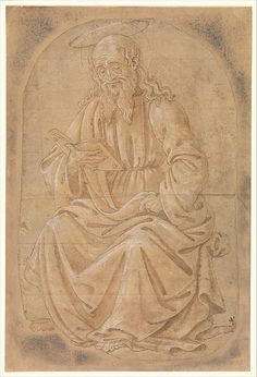 The outlines of the figure of this majestic seated saint have been finely pricked with holes, which would have been dusted with charcoal in order to transfer the design to another surface below – a process known as pouncing used for embroidery