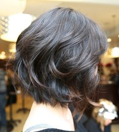 Easy Short Bob / The short hairstyle is cut to one length with layers added to the sides and back to enhance the natural bounce of the loose curls to create the low-fuss hairstyle. This curly short bob haircut makes a person's head look like a triangle. This hairstyle is a cool option for bad hair days.