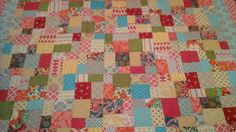 Brightly-colored queen size quilt by 4quiltsandmore on Etsy