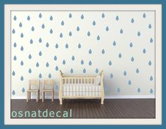 FREE SHIPPING Wall Decal Rain Drops Blue Color. Each Kit 132. Nursery Wall Decal. Home Decor. Vinyl Wall Decal Wall Sticker. Wall Art