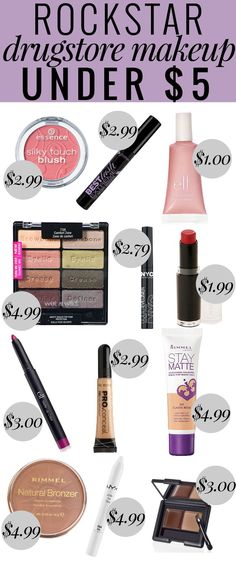 Rockstar Drugstore Makeup Under $5 - this list has everything for a full face of cheap, but amazing makeup!