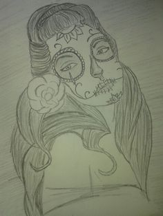 30 day drawing challenge : day Anything I want. Day of the dead pinup chick. 30 Day Drawing Challenge, Pin Up, Day Of The Dead, 30th, Challenges, Drawings, Creative, Face, Day Of Dead