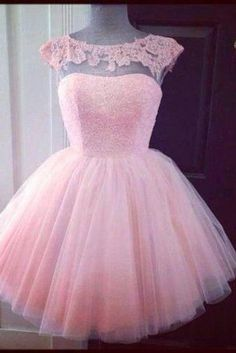 Lace Tulle Short Homecoming Dresses,Capped Sleeves Homecoming Dress, Mini Prom Homecoming Dresses
