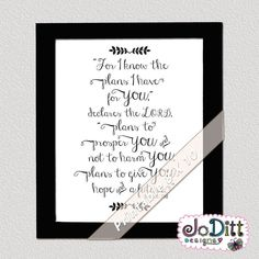 Jeremiah Dorm Wall Art/ Bible Verse Prints/ Bible Verse Wall Art - For I know the plans I have for you, Graduation Gift Christian Wallpaper, Christian Wall Art, Bible Verse Wall Art, Scripture Quotes, Graduation Quotes, Graduation Gifts, Dorm Walls, Jeremiah 29 11, Printable Bible Verses