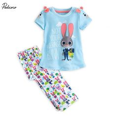 >> Click to Buy << Baby Kids Girl Short Sleeve Outfits Set ,Girls 2Pcs  Zootopia Summer Outfits,bunny T shirt Tops + rabbit Long Pants 2-7T #Affiliate