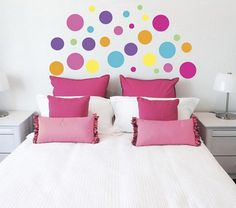 Bedroom Decor with Polka Dot Wall Stickers Polka Dot Walls, Polka Dot Wall Decals, Wall Stickers, Polka Dots, Bedroom Wall, Bedroom Decor, Wall Decor, Bedroom Ideas, Paper Wall Art
