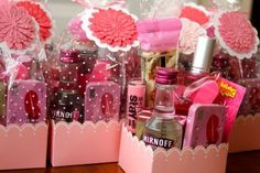 party favors, bachelorette parties, gift ideas, lip gloss, bridesmaid gifts, mint, goodie bags, pink lemonade, girl night