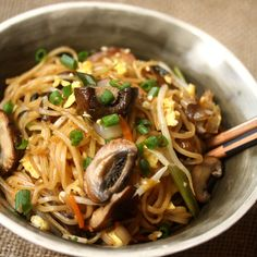 This fast vegetarian pad Thai becomes extra savory, thanks to the addition of stir-fried mushrooms.