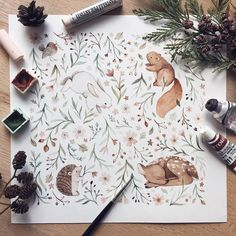"""16.8k Likes, 180 Comments - ✧ Nina Stajner ✧ (@ninastajner) on Instagram: """"Sometimes you just have to use your favourite tools and paint your favourite animals and forget…"""""""