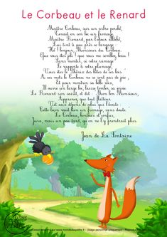 Le corbeau et le renard French Class, French Lessons, French Education, Kids Education, French Poems, French Nursery, French For Beginners, French Expressions, Music Writing