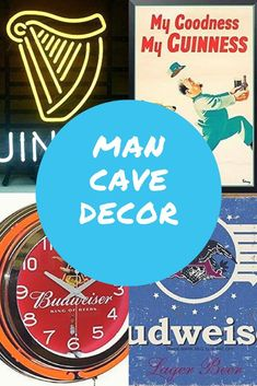 Personalize the man cave with vintage advertising from your favorite beer! Man Cave Desk, Man Cave Home Bar, Man Cave Barber, Country Man Cave, Small Mini Fridge, Ultimate Man Cave, Man Cave Basement, Cool Wall Art, Old Signs