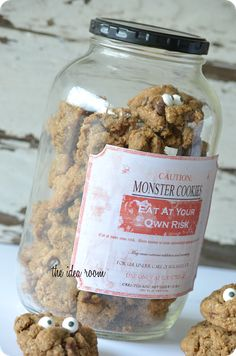 Monster Cookie Recipe with Free Label via Amy Huntley | theidearoom.net
