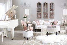 Valentines Day Decor, romantic blush pink shabby french living room