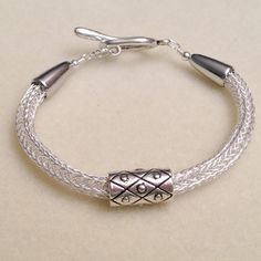 Silver viking knit woven chain bracelet with slider by DonnaDStore