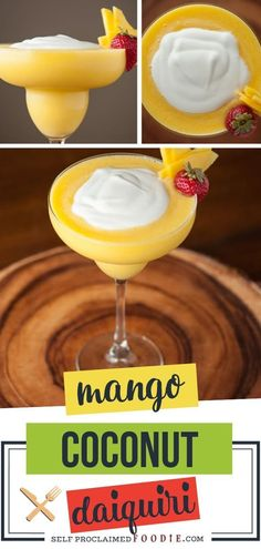 A refreshing tropical drink made with fresh mango, coconut rum, and coconut cream! This Mango Coconut Daiquiri is a frozen mango rum drink perfect for the summer heat. Make use of your leftover mango and make this amazing tropical cocktail drink! Mango Rum Drinks, Coconut Rum Drinks, Mango Cocktail, Fruity Cocktails, Yummy Drinks, Mocktail Drinks, Mango Margarita, Drinks Alcohol Recipes, Punch Recipes