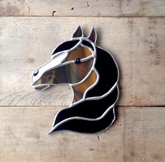 stained glass horse horse decor western decor brown white