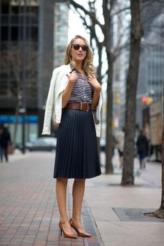 navy pleats + navy stripe + neutrals