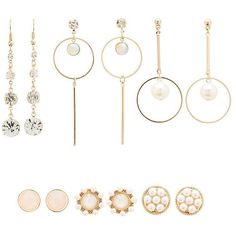 Charlotte Russe Embellished Stud & Hoop Earrings - 12 Pack ($5.99) ❤ liked on Polyvore featuring jewelry, earrings, gold, hoop earrings, geometric stud earrings, cabochon earrings, polish jewelry and statement hoop earrings